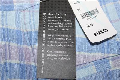 NWT Mens Brooks Brothers Clark Fit Blue Plaid Baird McNutt Irish Linen Pants *E6