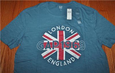 f183bc4e9a9ce Details about NEW NWT Mens GAP T-Shirt LONDON England Distressed Logo Union  Jack Flag  3Q