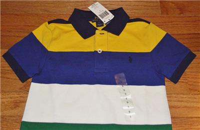Size: S 8 Boy/'s POLO RALPH LAUREN BLUE Strip Short Sleeve T-Shirt NWT