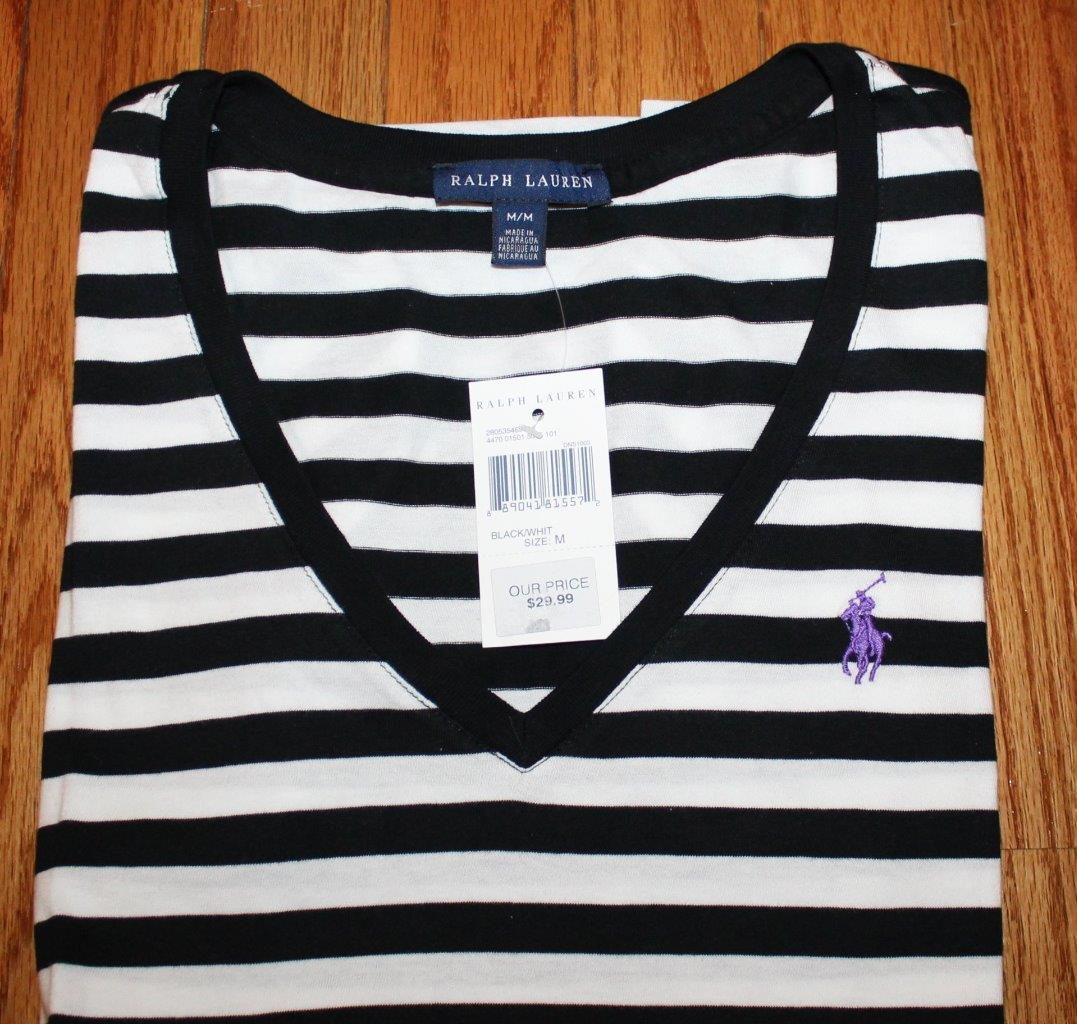 ARESHION Womens V-Neck Striped Casual Short Sleeve T-Shirt Blouse Tees Tops