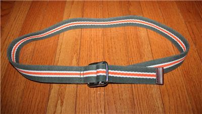 NWT Brooks Brothers Canvas D-Ring Olive Green Cotton Belt Leather Tipped *N7