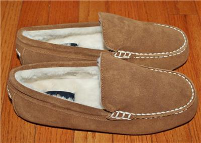 72255c09670f4 NEW Mens Brooks Brothers Suede Leather Moccasin Slippers  69 Faux-Fur Lined   F8