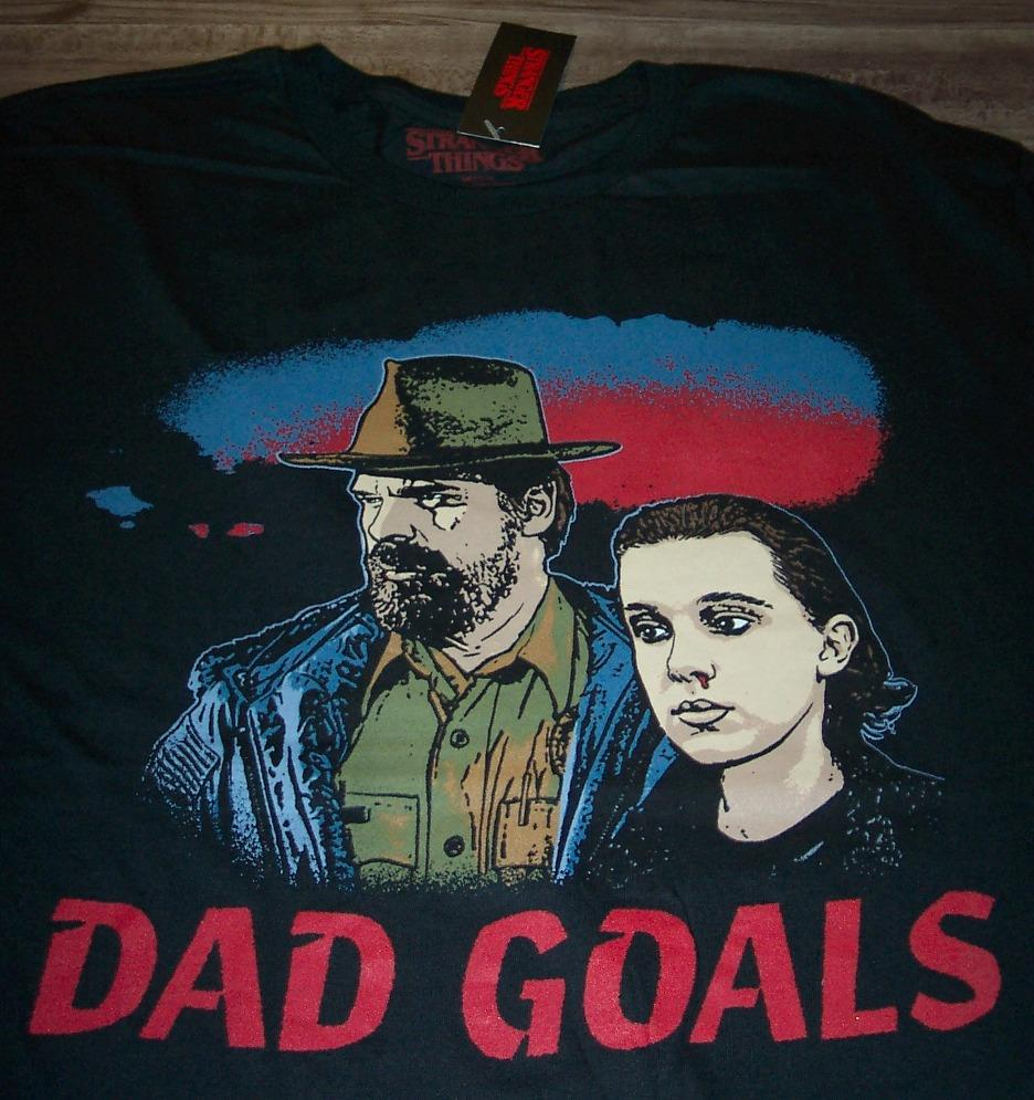 Stranger Things Netflix Dad Goals Chief Hop and El T-Shirt Size S XL L M 2XL