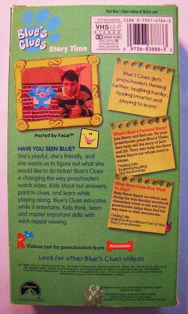 Blue 039 s Clues Play Along with Blue Story Time VHS Video ...