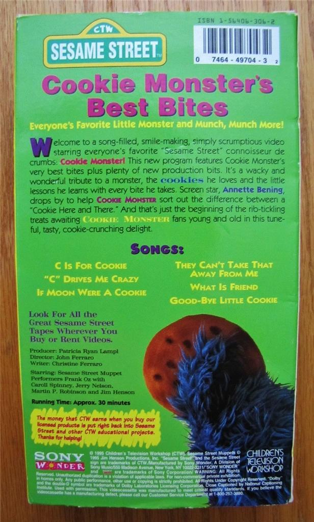 Sesame Street COOKIE MONSTER'S BEST BITES VHS VIDEO - Ad ...