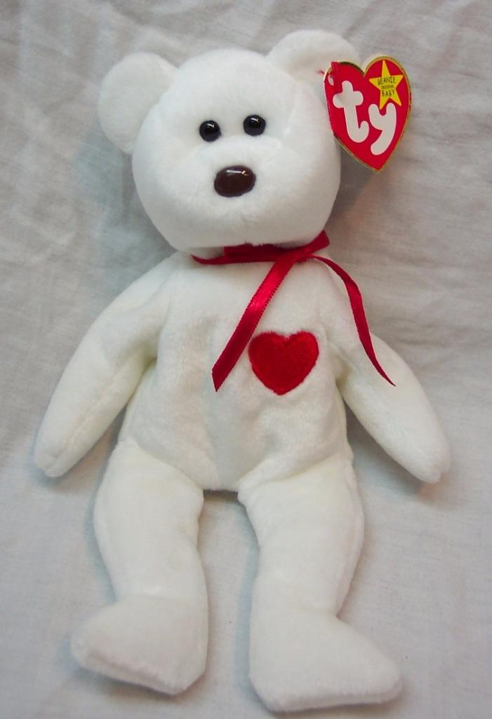 57803a348c6 Details about TY Beanie Baby VALENTINO WHITE TEDDY BEAR 9