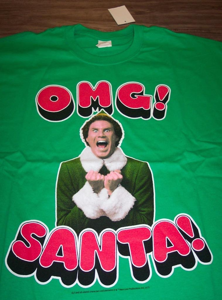 b5e9ecde4 Details about ELF WILL FARREL OMG SANTA CHRISTMAS T-Shirt SMALL NEW w/ TAG