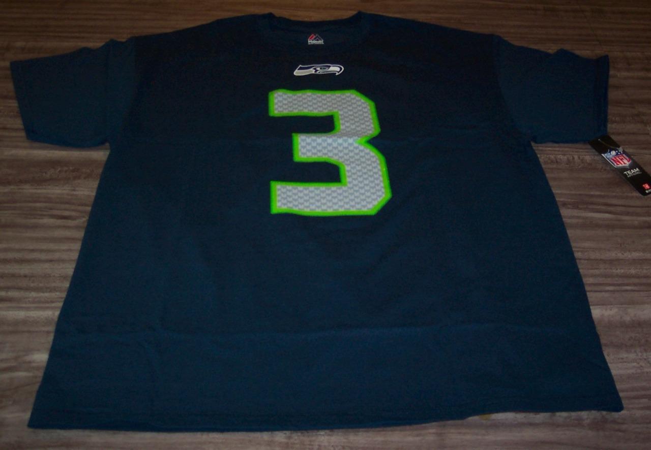 e78113e7959c4 SEATTLE SEAHAWKS  3 RUSSELL WILSON NFL FOOTBALL T-Shirt XL NEW w ...