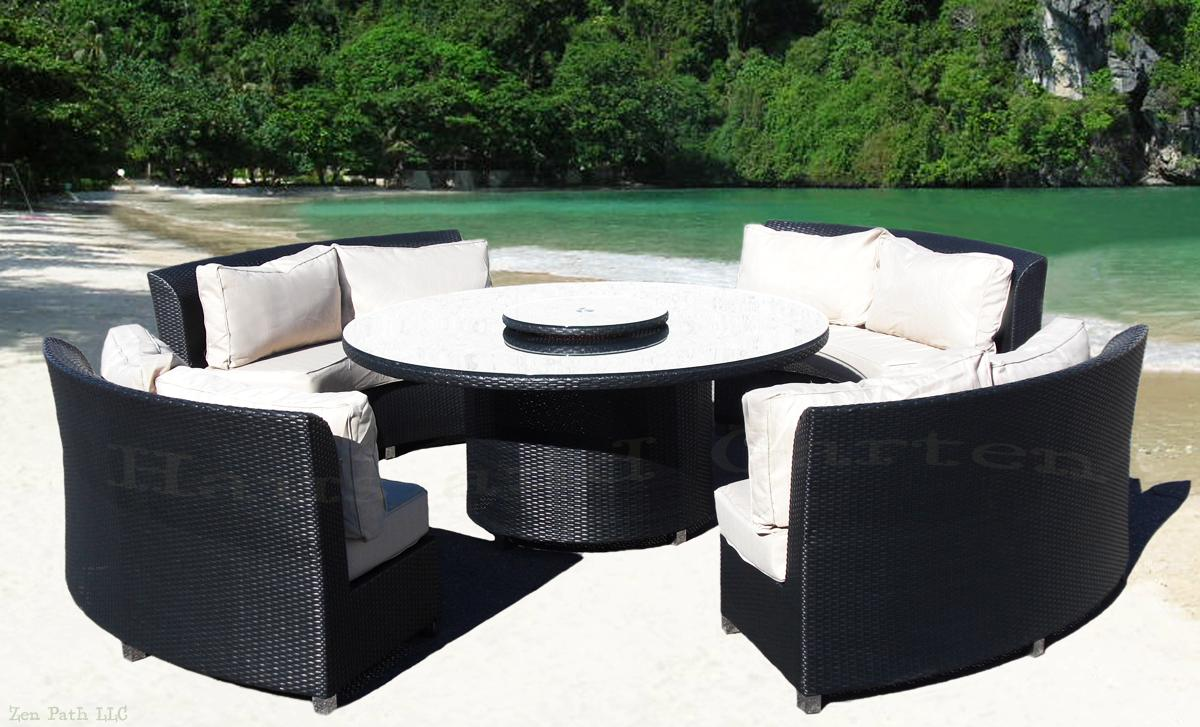 Round Outdoor Wicker Sectional Sofa Patio Furniture Khk Ebay