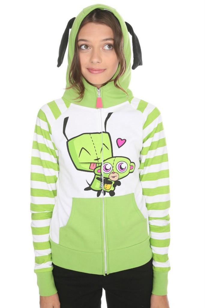 InVaDeR ZiM ~I Heart Gir Monkey Hoodie Ears S Small NWT | eBay