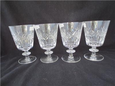 4 rare vintage webb corbett leonore crystal winewater goblets glasses - Water Goblets