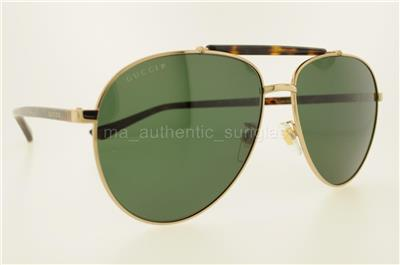 ecd9bba13bf GUCCI GG0014S 006 60MM GG0014 S GOLD HAVANA FRAME WITH GREEN LENSES  AUTHENTIC