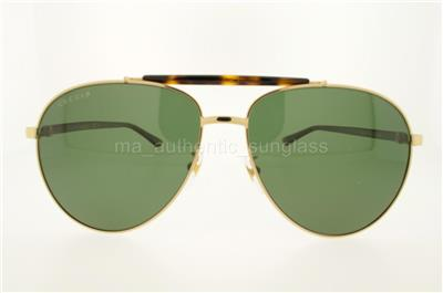 8c076cc42b6 GUCCI GG0014S 006 60MM GG0014 S GOLD HAVANA FRAME WITH GREEN LENSES  AUTHENTIC