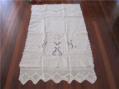 Valance Country Style Hand Crochet Embroidery Hemstitch Cotton Beige Curtain