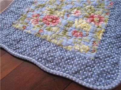 Pretty Spring Pink Flower Blue White Dot Patch Cotton Quilted Floor Mat Rug