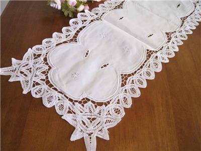 Again@ Elegant Hand Flower Embroidery Hemstitch Cotton White Table Runner
