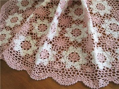 Lovely Hand Crochet Pink Ivory Flower Square Cotton Table Cloth Topper Again