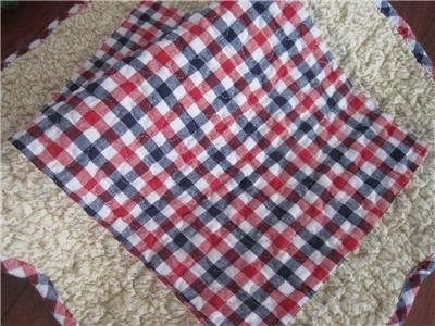 Classic England Red Blue Gingham Patch Cotton Quilted Floor Mat Rug
