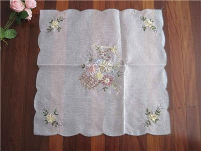 Beautiful Flower Trail Embroidery Sheer Fabric Round Doily Topper Clearance