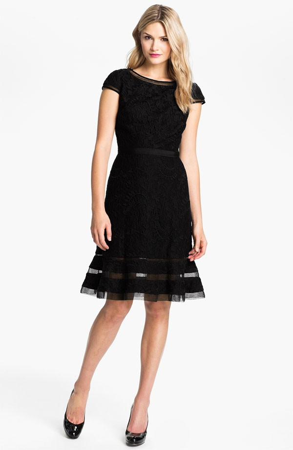 Adrianna Papell Lace Fit Amp Flare Dress Black Size 14 Ebay
