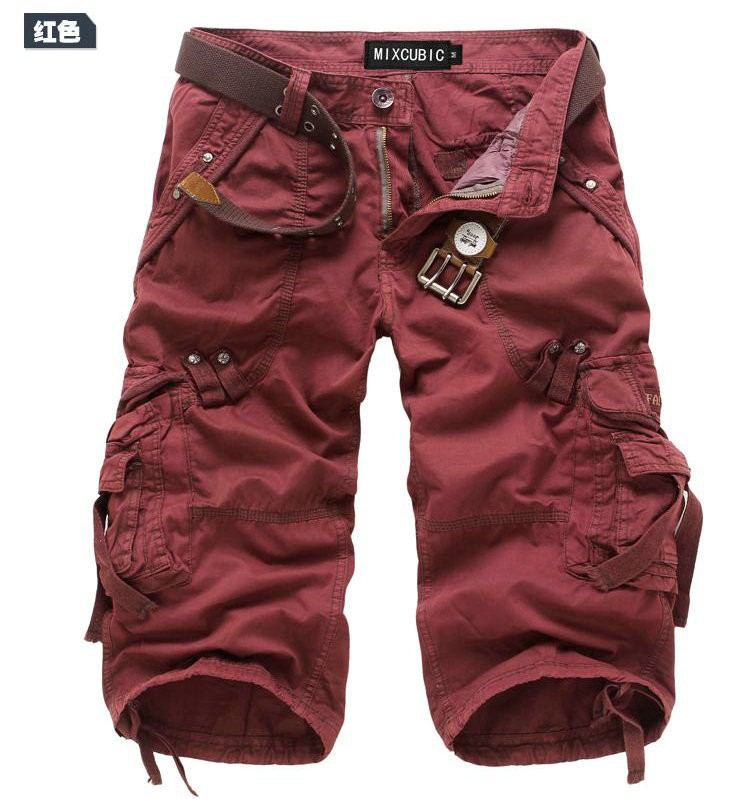 84437ddf98af3 Men s Casual Capri Shorts Cargo Pants Multi Pocket Army Military Style  Trousers