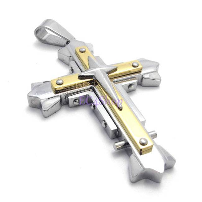 Mens big stainless steel layer gold silver cross crucifix pendant categories steel rings steel bracelets steel necklace aloadofball Images