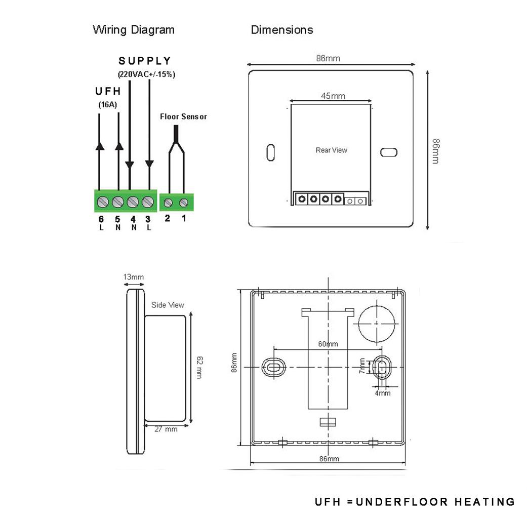 underfloor heating thermostat with floor probe | ebay floor furnace wiring diagram