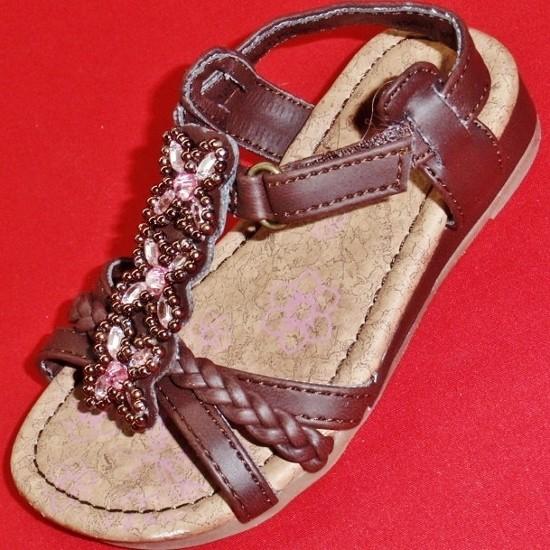 New Girl's Toddlers KK Kiana Brown Rhinestone Fashion Sandals Casual Dress Shoes
