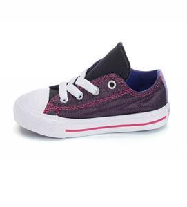 Toddler CONVERSE 754227F PurpleBlack Metallic Double Tongue