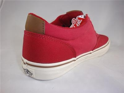 Men s VANS WINSTON Red Two-Tone Canvas Skate Casual Sneakers Shoes ... 71013ef88