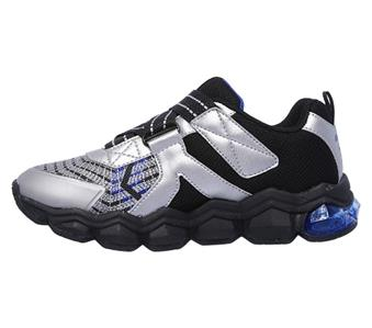 Details about Skechers Turbo Flex Radex Kids Sneakers Silver Blue Light up Shoes Youth 90596L