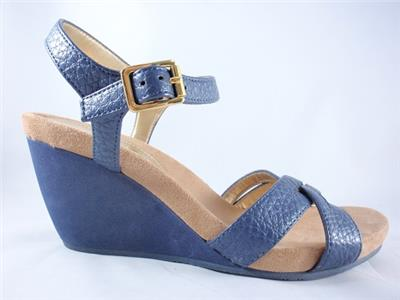 272fce325cc2 Women s CHAPS REINE Navy Blue Ankle Strap Wedge Sandals Casual Dress ...