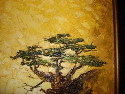 Vintage Oil Painting Framed Wave Rock Bonsai Tree Lance