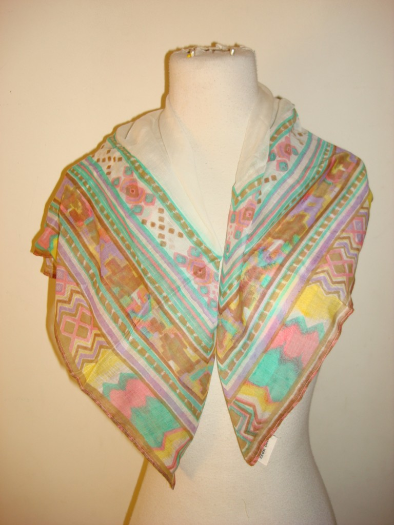 Glentex oblong neck scarf wrap bright green white peach flowers design New