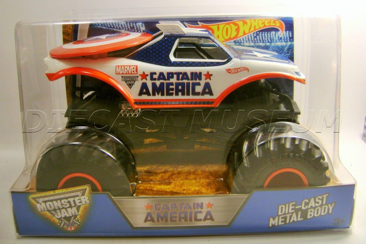 captain america marvel 1 24 scale monster jam truck diecast hot wheels 2016 ebay. Black Bedroom Furniture Sets. Home Design Ideas