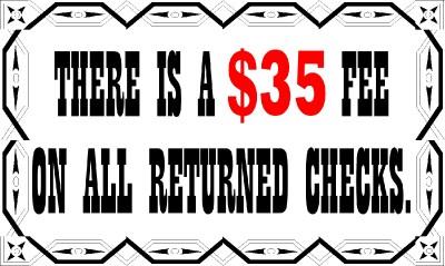 Returned Check Fee 2 Vinyl Business Sign Customize Ebay