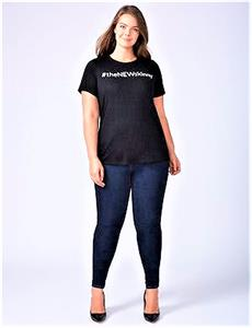 4394febb 18/20 2X Lane Bryant # The New Skinny black crew neck graphic tee t ...