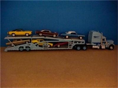 Peterbilt Semi with Auto Transport Trailer 1 64 Scale EDT 14 Detailed
