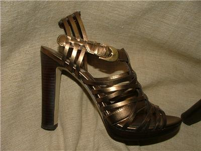 Details about Circa Joan David bronze leather platform Holiday! heels Rosina Gorgeous!! 7M