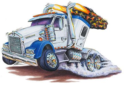 Mack Kenworth Peterbilt Truck Cartoon Tshirt FREE   eBay