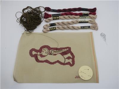 Cherub Needlepoint Canvas Pillow Kit