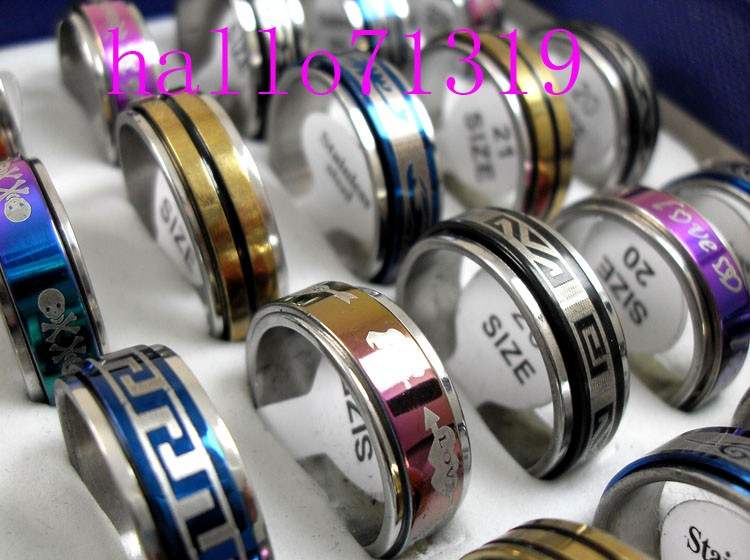 30pcs Spin band mix Stainless steel RINGS WHOLESALE fashion jewelry