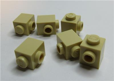 Lego 5 New Tan Bricks Modified 1 x 1 with Stud on 1 Side Parts
