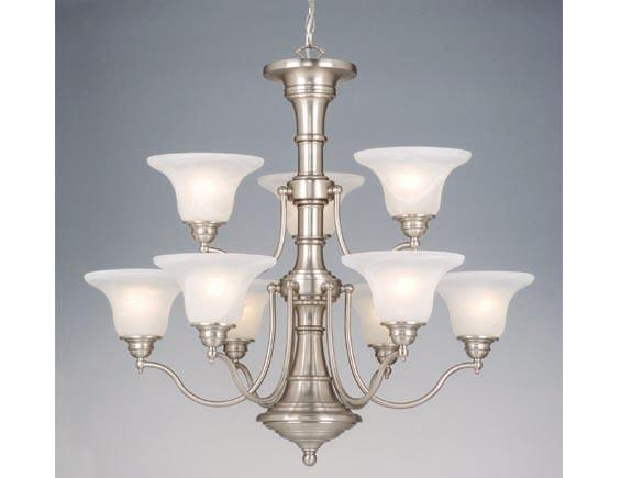Vaxcel Standford 9 Light Chandelier Brushed Nickel Dining
