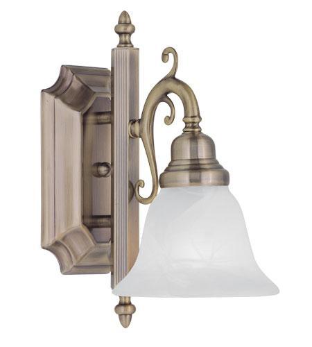 Antique Brass Bathroom Lighting: Livex 1L French Regency Wall Sconce Vanity Bath Lighting