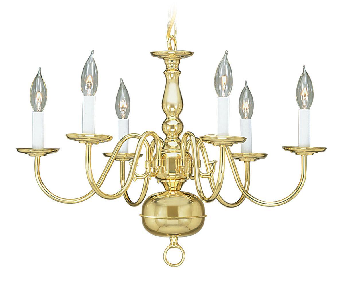 6l Polished Brass Chandelier Discount Lighting Livex Light