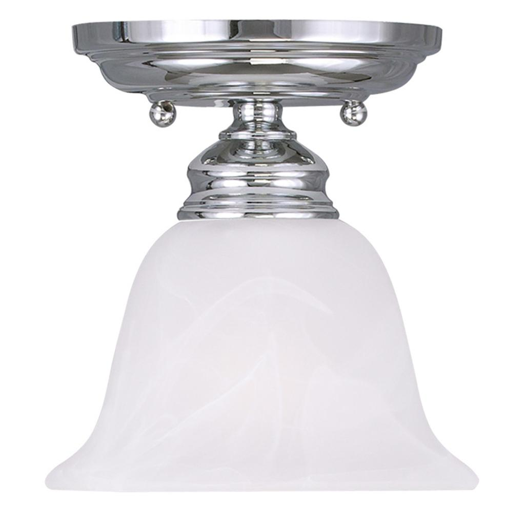 Discount Ceiling Light Fixtures: Livex Essex Chrome 1 Light Semi Flush Ceiling Fixture