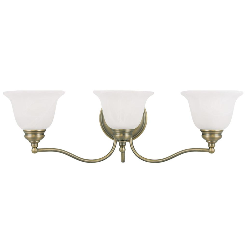 3 L Essex Livex Antique Brass Bathroom Vanity Lighting