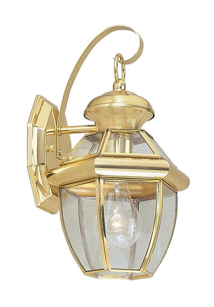 1 L Livex Monterey Outdoor Wall Sconce Polished Brass