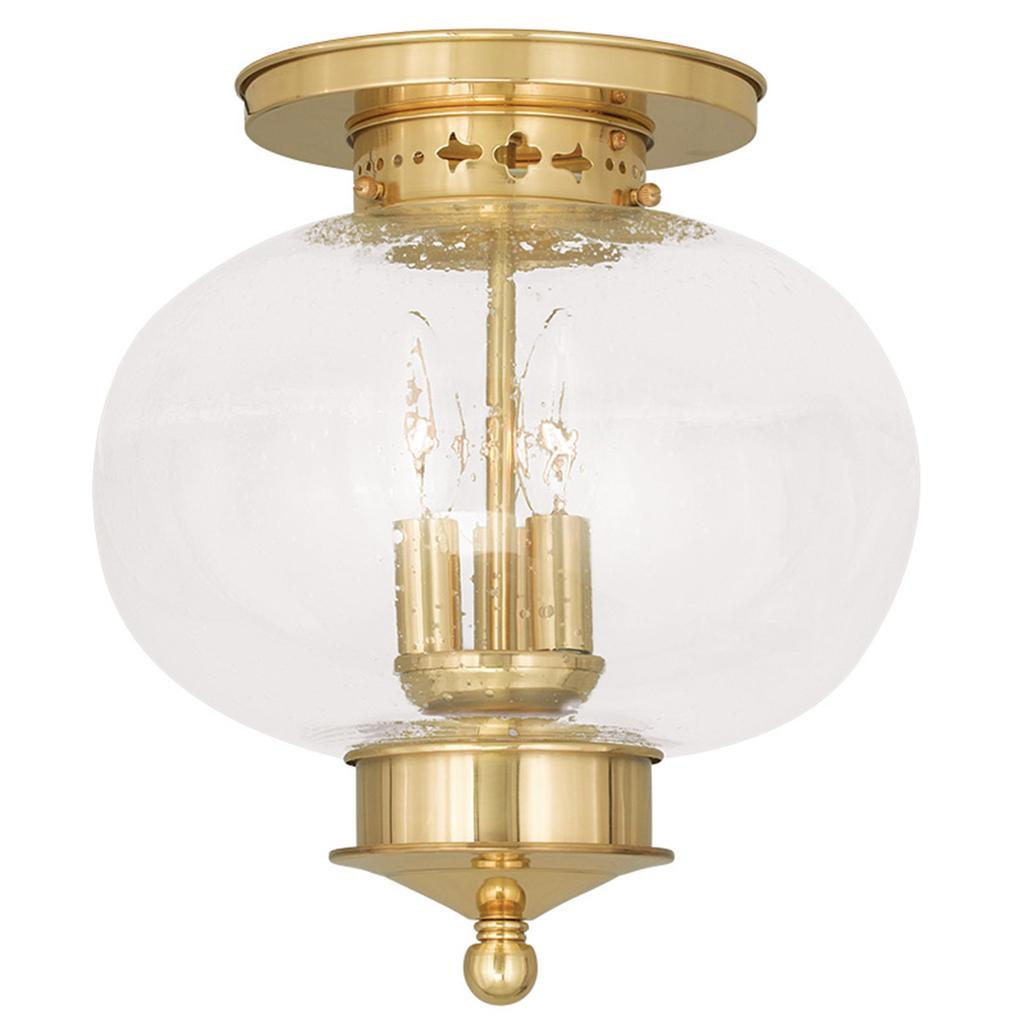 Light Fixture Base: Livex Harbor Polished Brass 3 Light Indoor Outdoor Ceiling